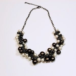 White Blue Gray Pearl Necklace